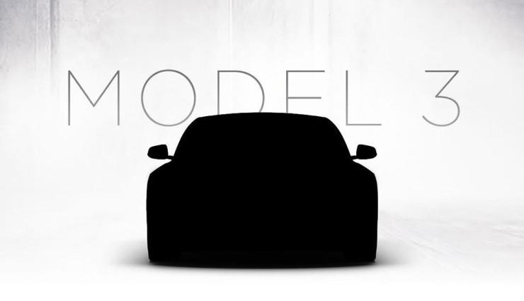 Dies soll die Silhouette des Elektroauto Tesla Model 3 zeigen, allerdings sieht die Form verdächtig ähnlich mit der des Model 3 aus. Bildquelle: Tesla Motors