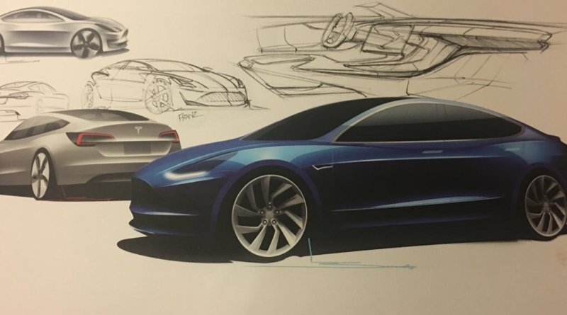 Dies ist einer der Designentwürfe für das Elektroauto Tesla Model 3. Bildquelle: Tesla Motors