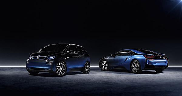 Das Elektroauto BMW i3 und das Plug-In Hybridauto BMW i8 wurden von Garage Italia CrossFade überarbeitet, dass Ergebnis wird auf der Paris international Motor Show 2016 präsentiert. Bildquelle: BMW