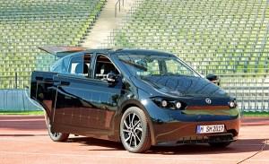Elektroauto Sono Motors Sion bei einer Veranstaltung in München. Bildquelle: Sono Motors