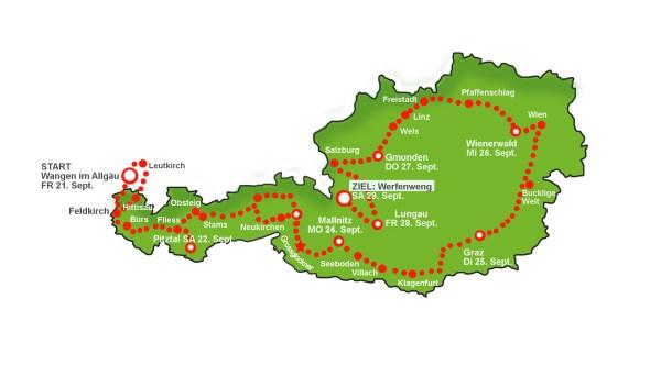 Der Streckenverlauf der Wave 2018 in Österreich. Bildquelle: Wavetrophy.com