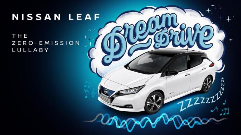 Nissan LEAF Dream Drive – ein von Nissan Ingenieuren gemeinsam mit Sounddesigner und Schlafcoach Tom Middleton entwickeltes Einschlaflied. Es imitiert die beruhigenden Klangfrequenzen eines brummenden Verbrenners, um Kinder auf bewährte Weise in den Schlaf zu wiegen – nur eben CO2-neutral. Bildquelle: Nissan