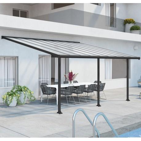 terrassendach olympia 300x546cm aus aluminium und polycarbonat 16mm grau palram
