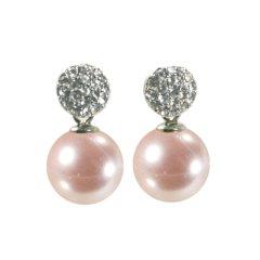 Ohrring mit Kristallkugel und Perle in lachs