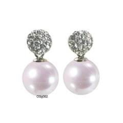 Ohrring mit Kristallkugel und Perle rosa