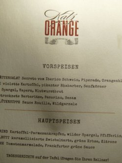 Katz Orange, Berlin Speisekartte