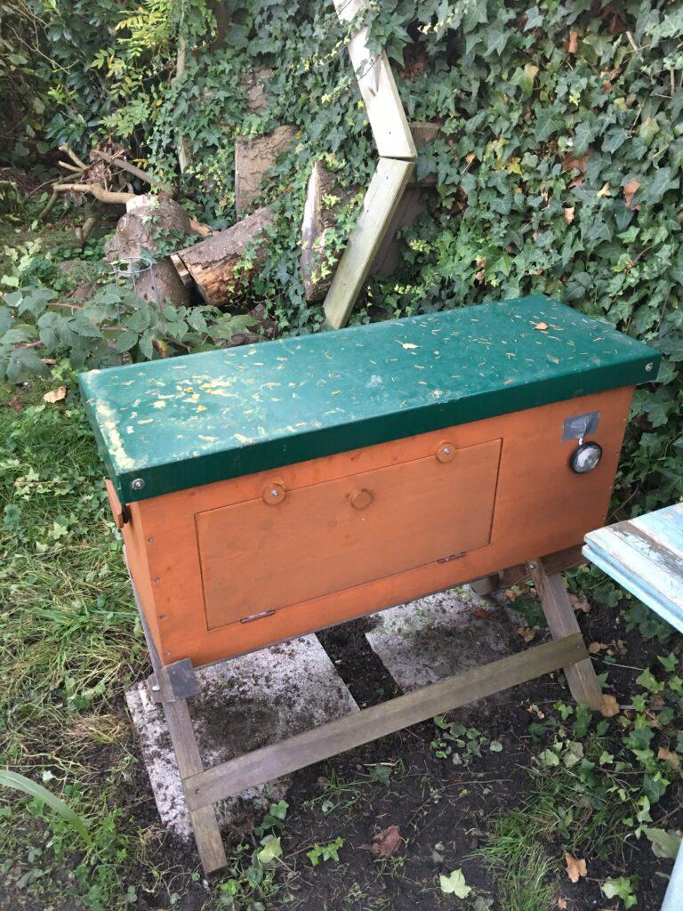 Bienenbox von hinten mit Fenster