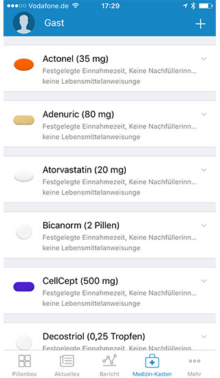 Medikamenteneinnahme - Medikamentenübersicht
