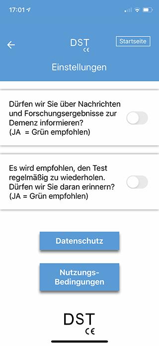 Demenz App Einstellungen