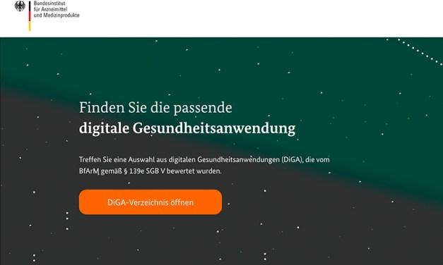 <br />Das DiGA-Verzeichnis startet – die Übersichtsseite