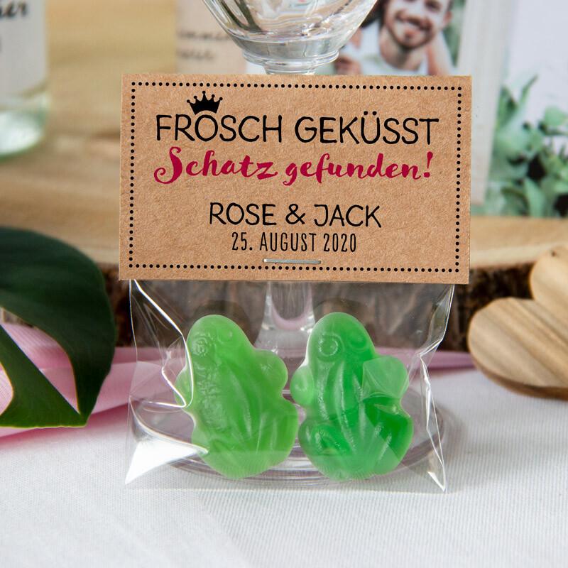 Gastgeschenk Tüte Transparent Mit Kraft Etikett Frosch Geküsst