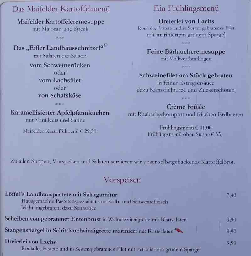 loeffels Landhaus Speisekarte neu 2