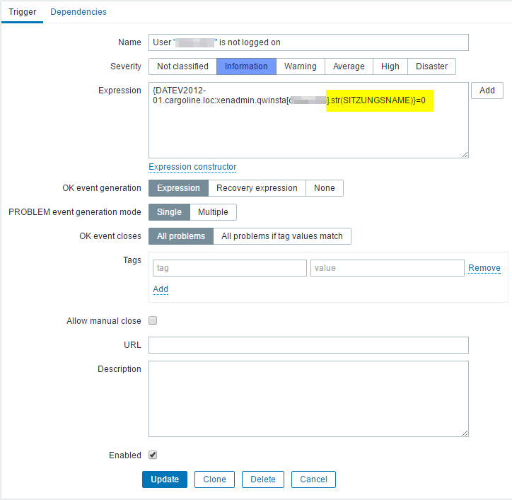 HowTo: Monitoring if a specific user is logged on with Zabbix | My