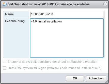 Create a VMware Snapshot