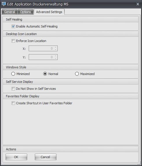 WEM Application Advanced Settings