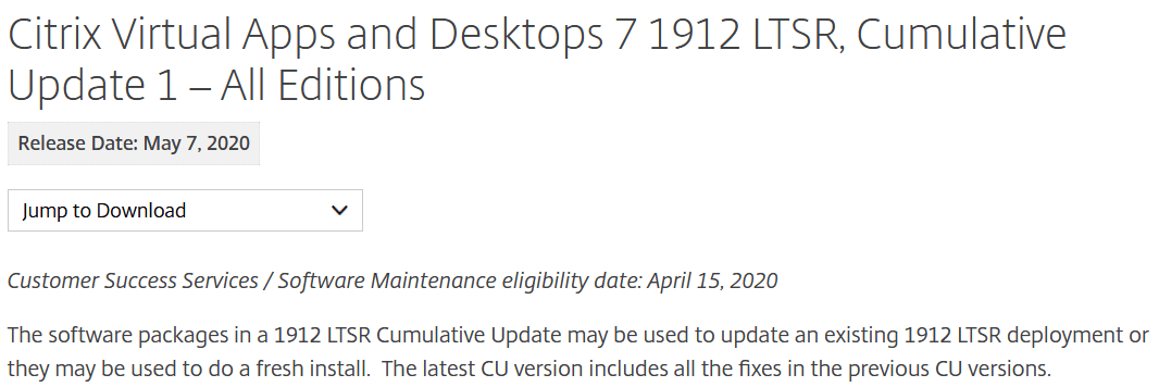 Citrix Virtual Apps and Desktops 7 1912 LTSR Cumulative Update 1