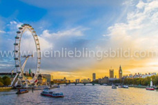 London Themse und London Eye Acryl, Alu Dibond, Leinwand, Poster