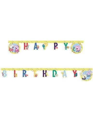 Peppa Pig Wutz Happy Birthday Pappe Girlande Banner 2m Party Und Festbedarf Direkt Bestellen