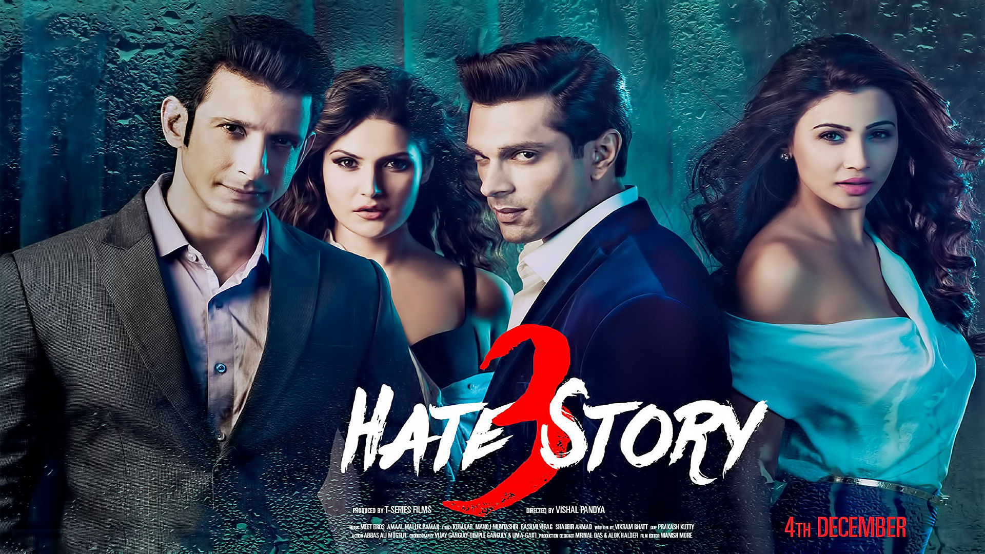 Hate Story 3 Movie Poster Sharman Joshi, Zarine Khan, Karan Singh Grover, Daisy Shah