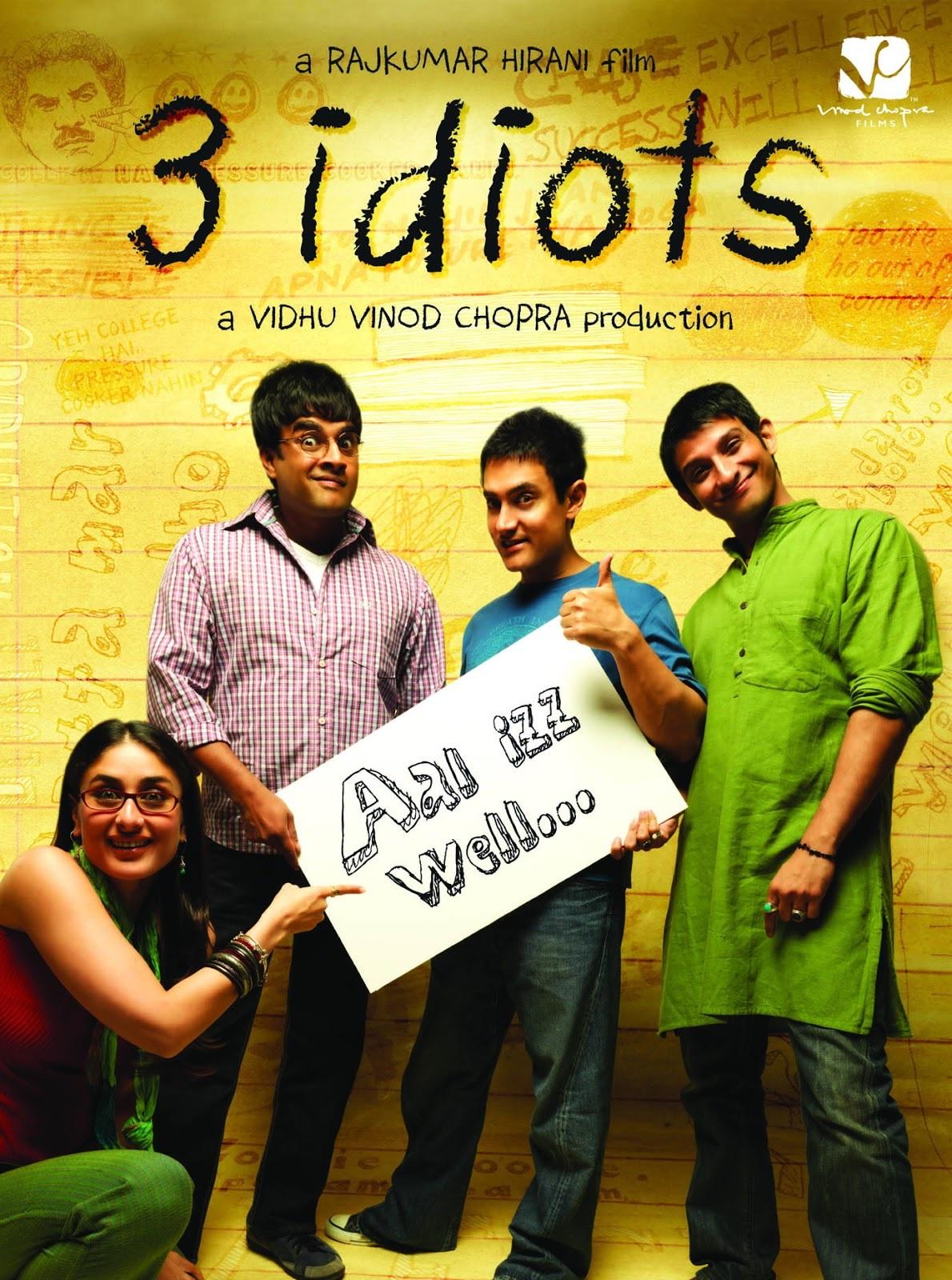 3 Idiots Movie Poster - Aamir Khan, Kareena Kapoor, R Madhavan, Sharman Joshi