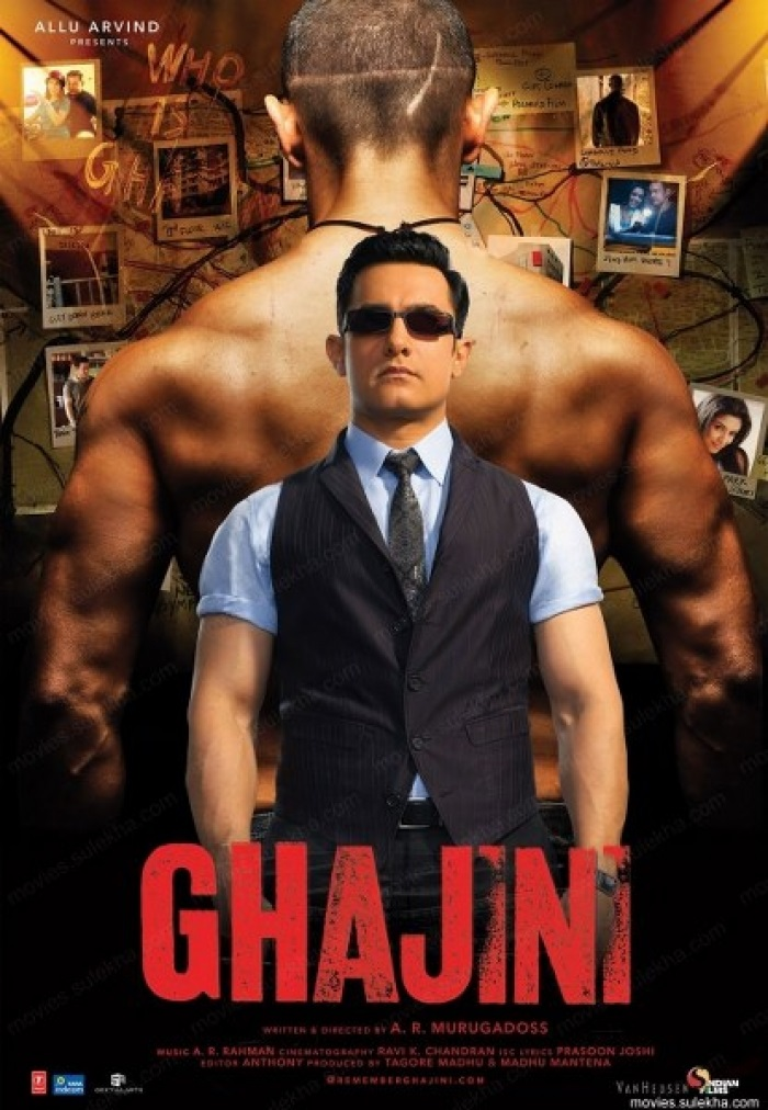 Ghajini Movie Poster - Aamir Khan And Asin
