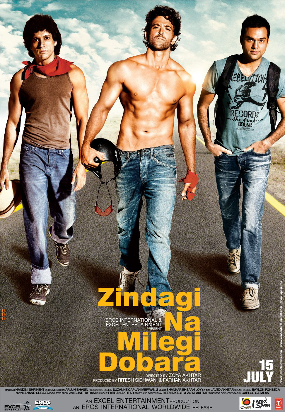 Zindagi Na Milegi Dobara Movie Poster Ft. Farhan Akhtar, Hrithik Roshan, Abhay Deol - Full HD Wallpaper