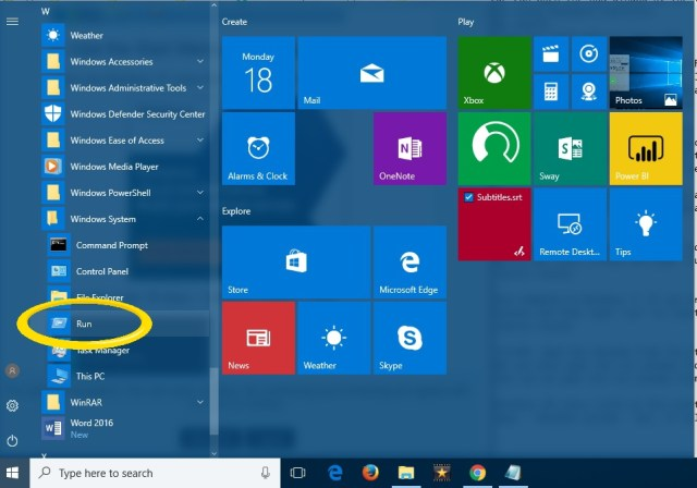 RUN Box In Windows 10