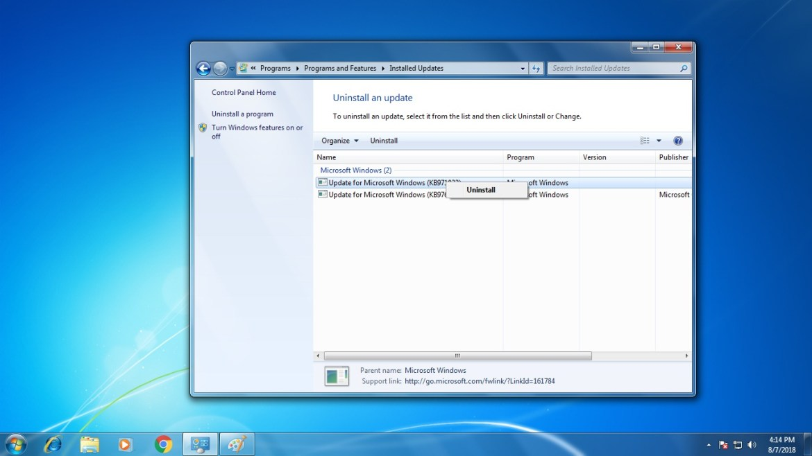 How to Uninstall An Update In Windows 7 (All version)
