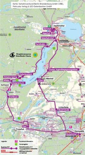 Werbellinseebus Route und Haltestellen um den Werbellinsee