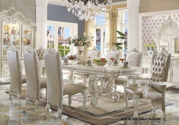 Meja Makan Mewah Putih Mutiara