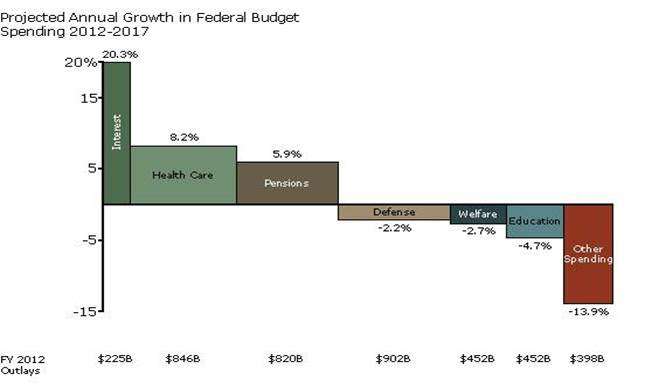 Bar Mekko Chart of Federal Budget Growth by Category