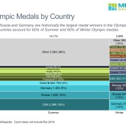 Marimekko chart of medals for Summer and Winter Olympic Games by country