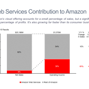 Amazon Revenue and Profit by Business 100% Stacked Bar Chart