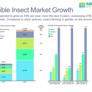 The edible insect market is expected to grow at 24% per year, over the next 5 years, surpassing $1B worldwide. Compared to other species, insect farming is gentler on the environment.