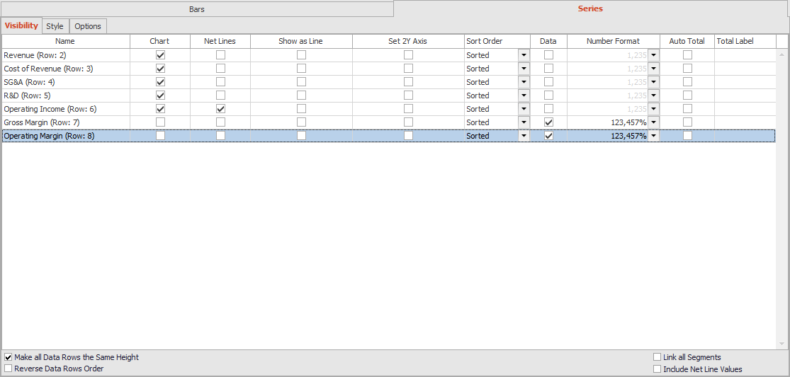 Bars and Series Task Pane
