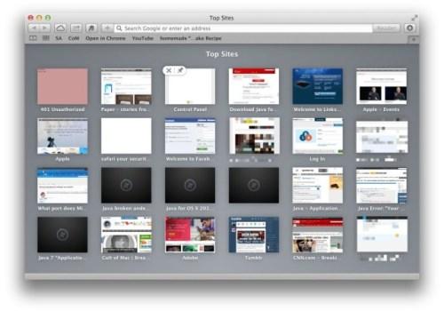 Top Sites Safari OSX Mavericks