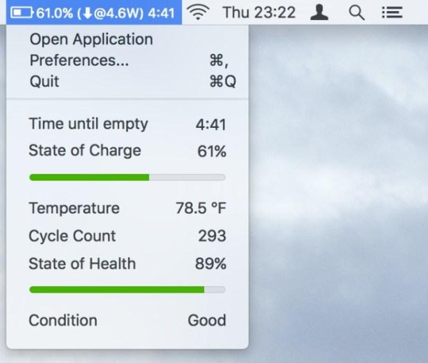 batteria rimanente su MacOS CocoaBattery