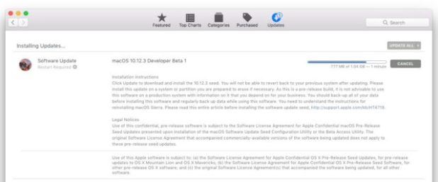 MacOS Sierra 10.12.3 beta 1