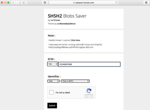 salvare i blob shsh2 con TSSaver