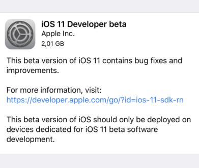 Apple rilascia iOS 11 beta 1 agli sviluppatori [link download]
