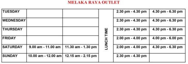 Robotic Class Melaka Raya TimeTable