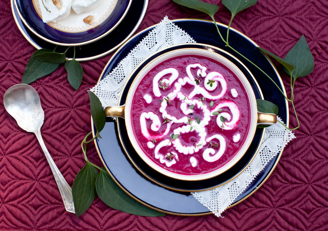 Cream of Roasted Beet Soup with Pears and Ginger