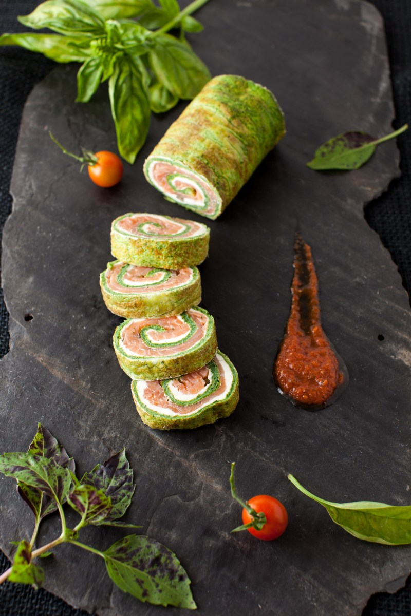 From Garden to Table - Spinach and Basil Smoked Salmon Roll