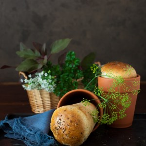 Garlic Bread with Fresh Herbs Baked in Flower Pots