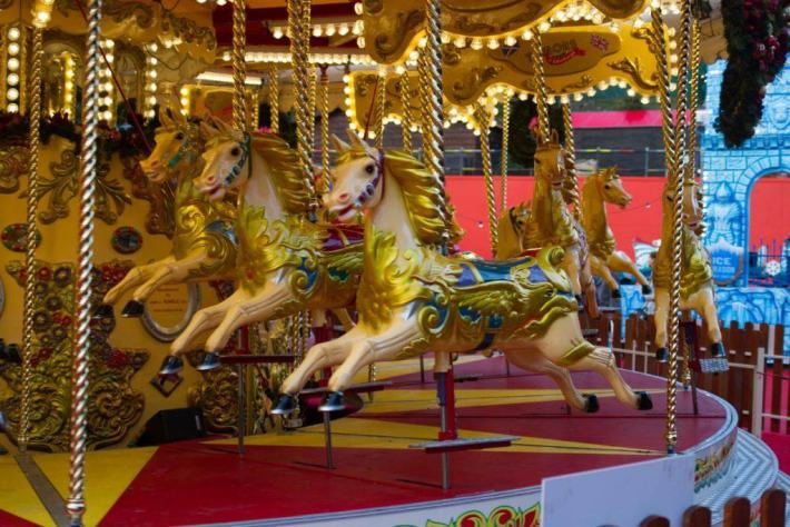 Photo of painted horse on the carousel.