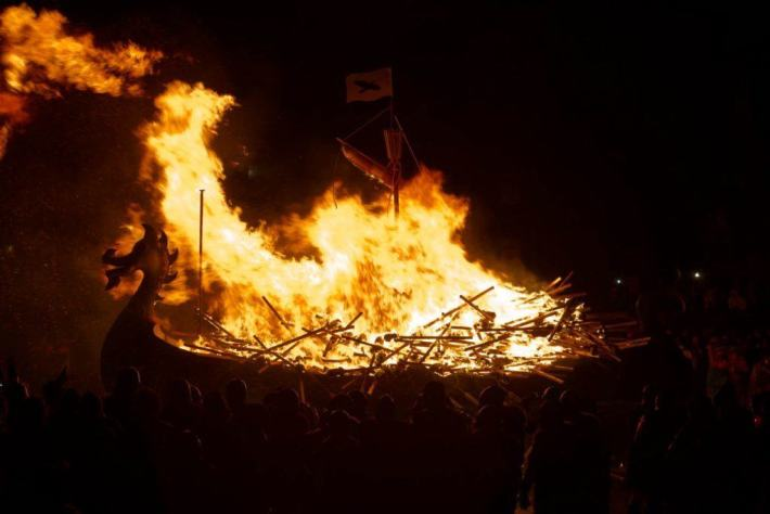 Up Helly Aa, Shetland. Photo of a replica Viking galley on fire