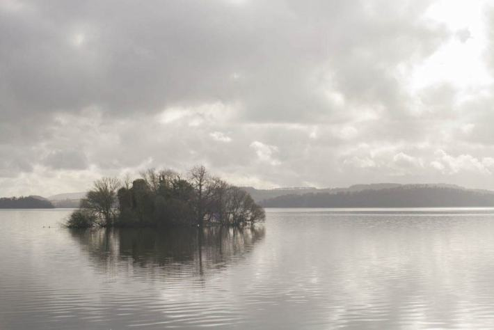 Photo of Loch Lomond. A small island covered in trees in the foreground