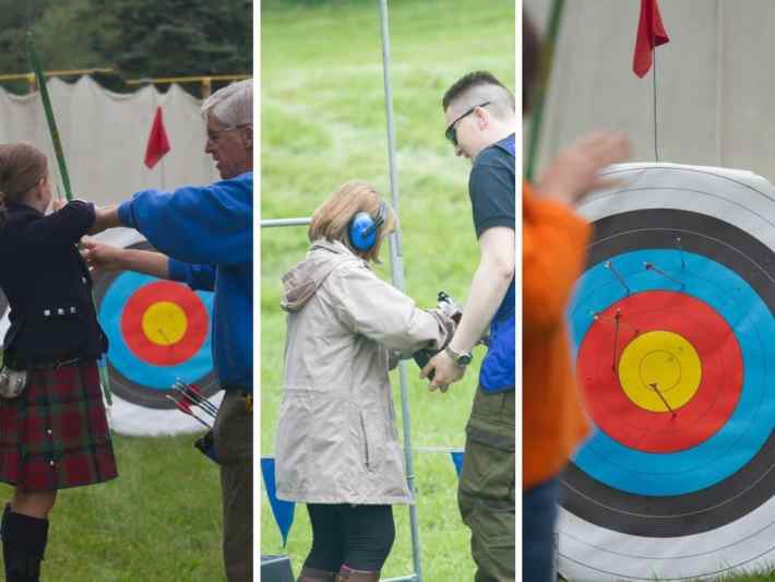 Strip of three photos. First: older man showing a young boy in a kilt how to use a bow and arrow. Second photo: Man showing a lady how to fire a gun for clay pigeon shooting. Third: photo of an archery target with arrows in.