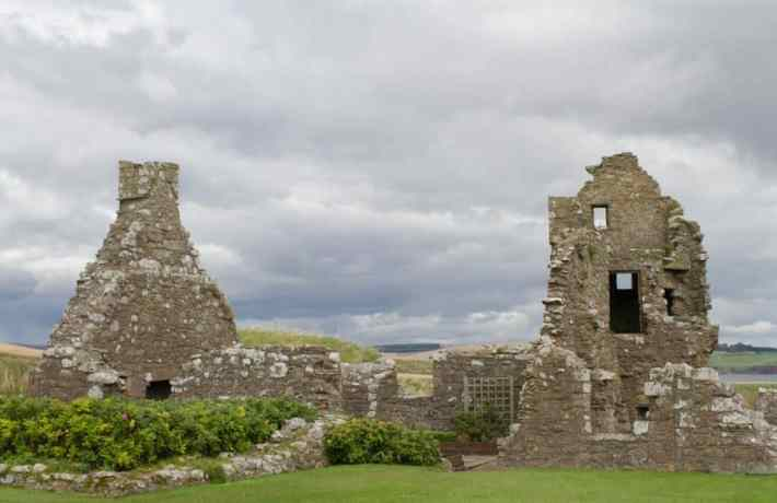 Dunnottar Castle, Aberdeenshire. Photo of building ruins. No side walls just the ends