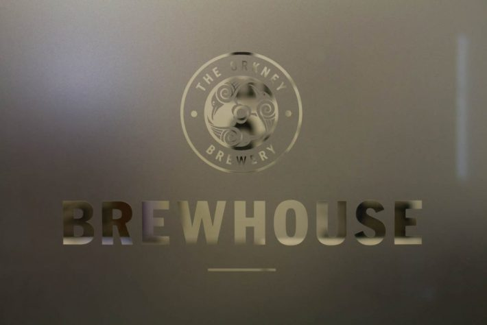 "Frosted glass window at the Orkney Brewery. Reads ""Brewhouse"""